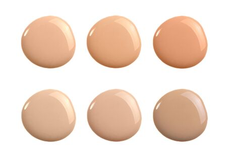 Liquid concealer cream smear smudge swatch drop isolated. Make up foundation shades sample round shape for beauty catalog. Nude cosmetic BB cream liquid foundation moisturizer. Beige powder concealer Stock fotó