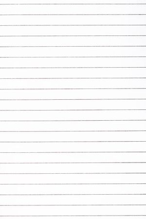 Exercise book paper page with lines, one page. Blank lined worksheet exercise book. Empty writing notebook paper sheet template. School and office stationery. Paper texture, closeup
