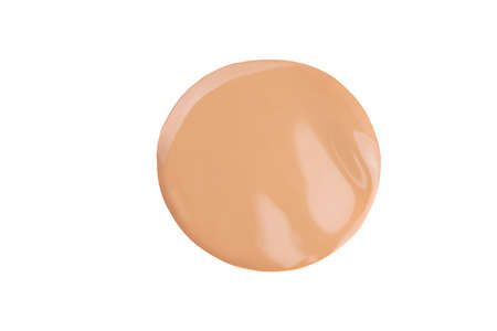 Beige liquid powder, concealer drop. Makeup foundation, tone cream smear smudge swatch isolated on white. Nude cosmetic BB cream sample. Cosmetic liquid foundation, concealer or moisturizer