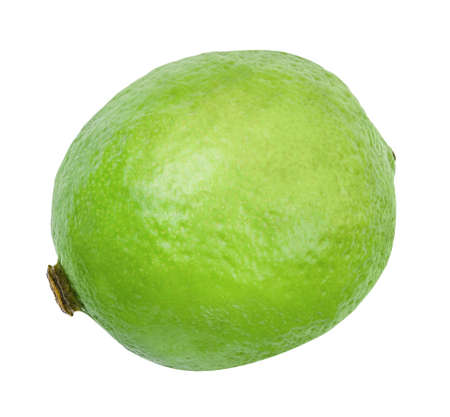 Lime closeup isolated on white background. Whole fresh lime front view. Healthy fruit food background. Organic ripe fruit. Standard-Bild