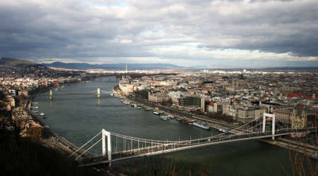 Panorama of the Budapest from the famous Citadella. Stock Photo