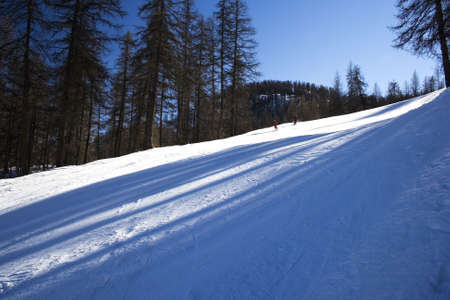 Ski downhill course and a big mountains in Puy St. Vincent (France)
