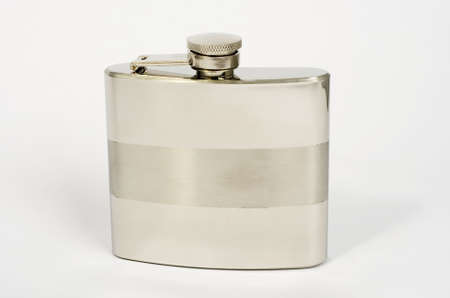 stainless steel hip flask on the white background