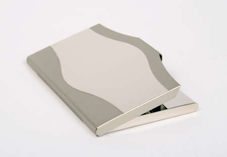 stainless steel calling card holder on the white background