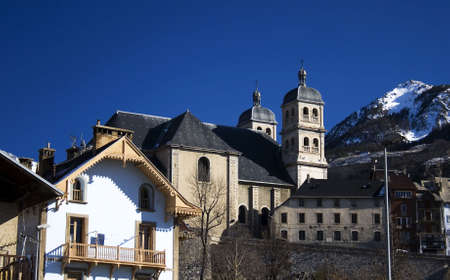 christian basilica with tower in France (Briancon city).