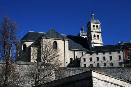 Christian basilica with tower in France (Briancon city). Stock Photo