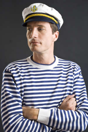 seaman: Young sailor man with white sailor hat