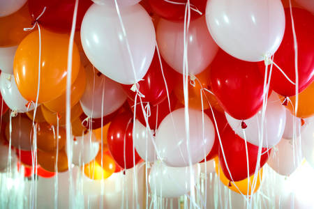 red balloons: a lot of white and red balloons Stock Photo