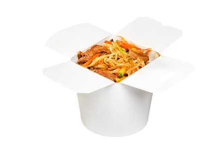 Chinese fast food dish in white paper box isolated on white background Stock Photo