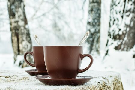brich: Two cups of tea on background of a winter landscape Stock Photo