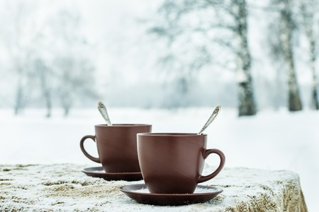 Two cups of tea on background of a winter landscape Stock Photo