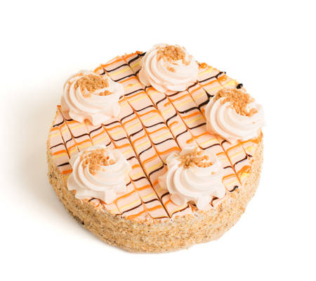 tortas de cumpleaños: sabroso pastel sobre un fondo blanco Foto de archivo