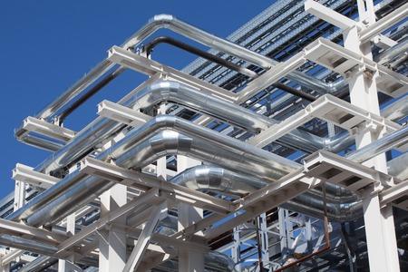 steel plant: Industrial zone. Steel pipelines on against the sky