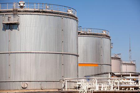 storage tanks: Storage Tanks in front of blue sky