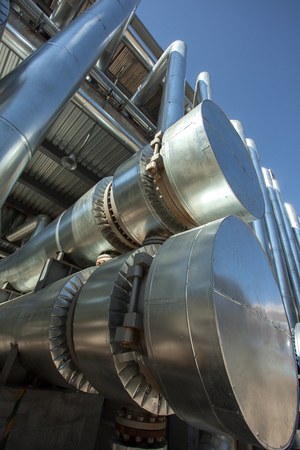 smokestacks: a lot of Metal pipes of metallurgical plant