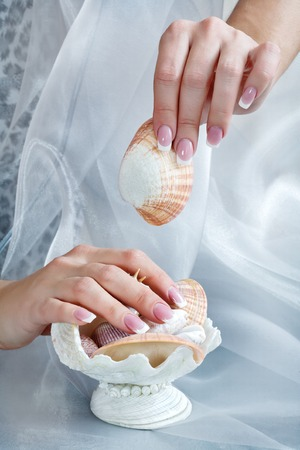 pedant: Beautiful healthy young womans manicured hands with shell