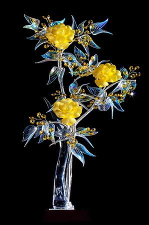 crystal glass: beautiful crystal flower on a black background