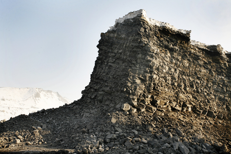 open pit: Open pit in the winter against the sky Stock Photo