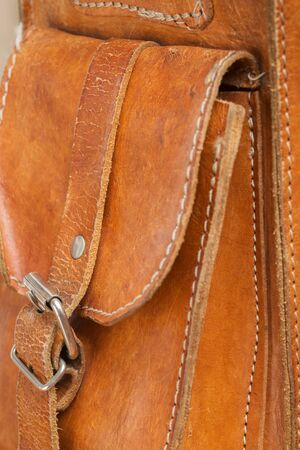 leather bag: Vintage leather bag background in good condition Stock Photo