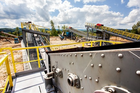 Processing Plant of manganese mine and mechanical processing used to transport ore Stock Photo