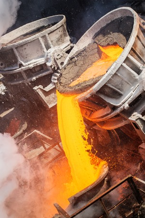 crucible: very hot steel pouring in steel plant