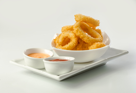 Deep Fried Calamari Rings on a white background