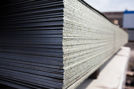 a lot of steel plates at construction