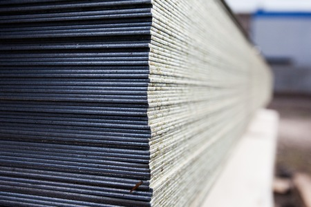 steel plate: a lot of steel plates at construction