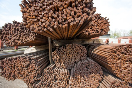 reinforce: Stack of steel rods or bars used to reinforce concrete for heavy industry