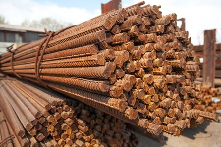 strenghten: Stack of steel rods or bars used to reinforce concrete for heavy industry