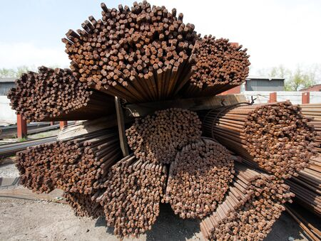 burnish: Stack of steel rods or bars used to reinforce concrete for heavy industry