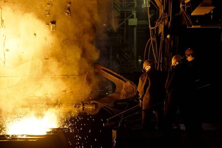 work worker: Process of manufacturing metal at the plant Stock Photo