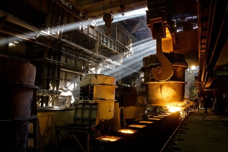 Iron and steel factory. Process of manufacturing metal