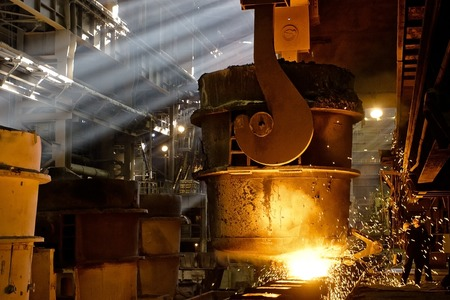smelting plant: Iron and steel factory. Process of manufacturing metal