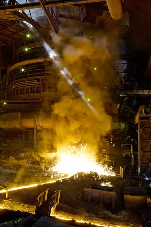 smelting plant: Process of manufacturing metal at the plant Stock Photo