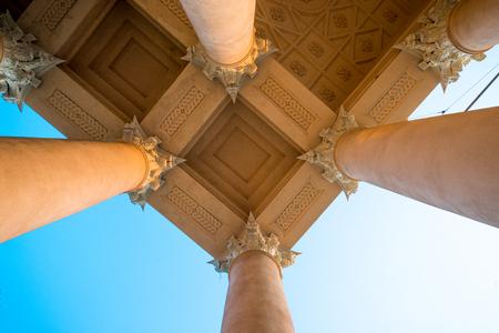 roman columns: House with Roman columns over blue sky view Stock Photo