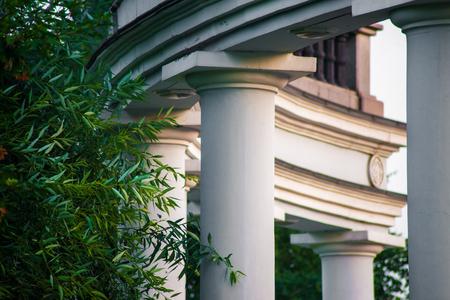 columnas romanas: Casa con columnas romanas y �rboles, verano visi�n