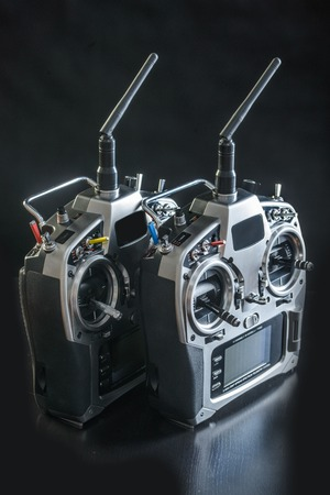 controls: Radio remote controls for helicoprter in close-up
