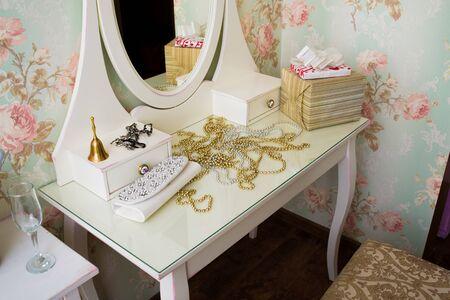 boudoir: beautiful vintage white boudoir in the room
