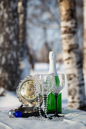 birchwood: Champagne, glasses, watch  in the winter birchwood