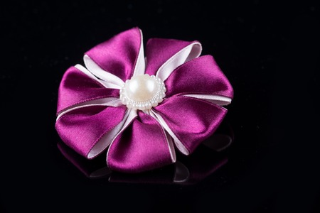 hair band: Purple flower hair band handmade decoration on black background
