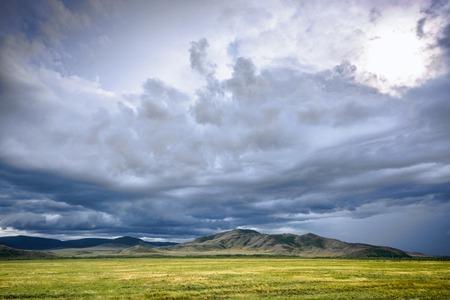 hazy: beautiful summer mountain and hazy sky landscape