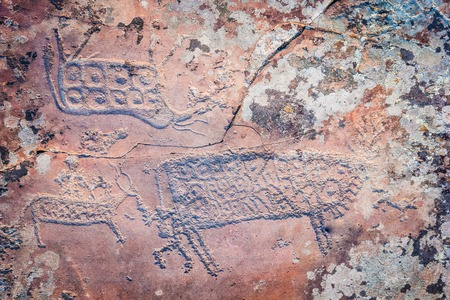 anasazi: prehistoric drawing on an old spotted stone