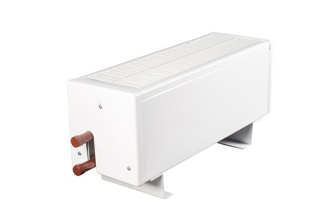 single coil: heating battery radiator isolated on white background