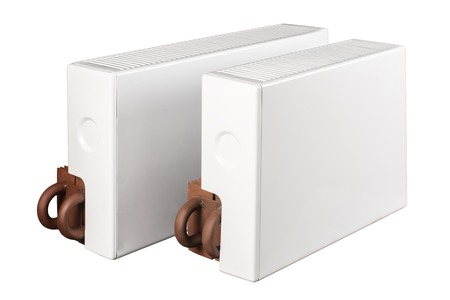 single coil: heating battery radiators isolated on a white background