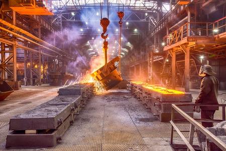 Novokuznetsk, Russia - MAY 25, 2016: Worker on Casting ferroalloy factory