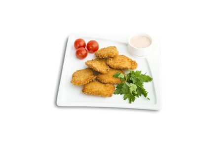 unhealthful: nuggets with sauce and parsley