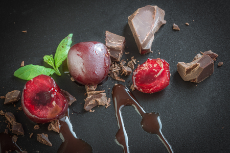 pieces of milk chocolate and cherries