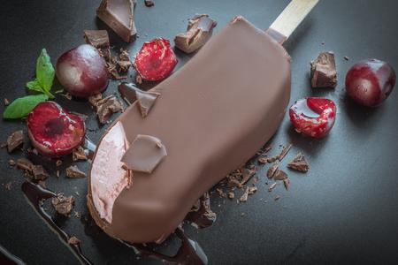tasty ice cream in milk chocolate Reklamní fotografie