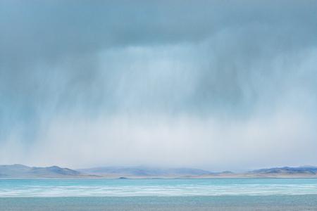 surface of lake at rainy day